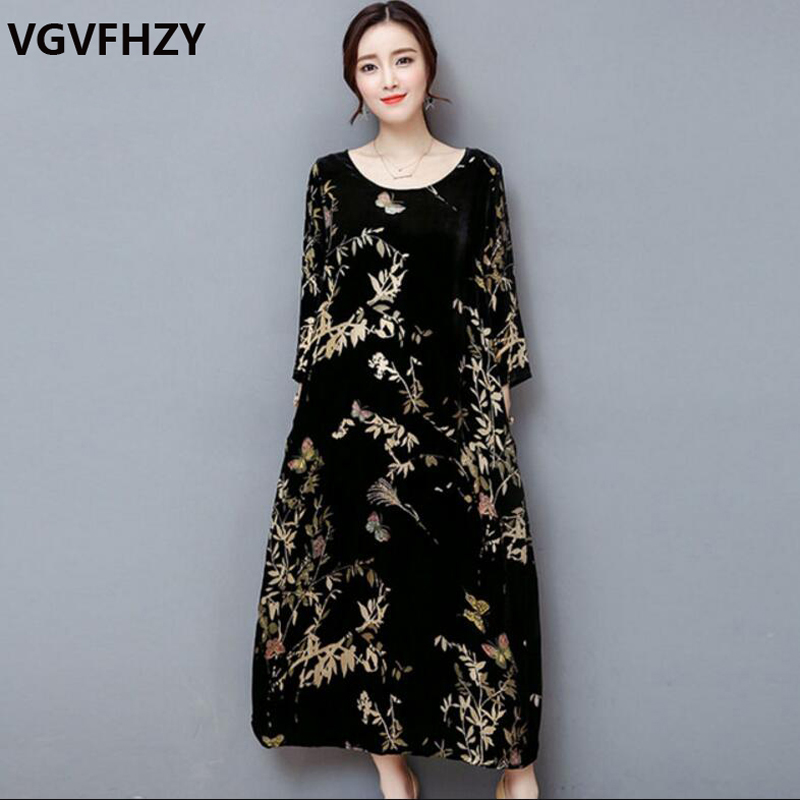 US $33.64 48% OFF|Women dress new 2018 autumn and winter black gold velvet  dress High quality plus size M 4XL Loose print long Dress LY773-in Dresses  ...