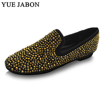Gold Black Strass Loafers Men Moccasins Crystals Suede Dress Shoes Flats Slippers Casual Shoes Mix Rhinestones men casual shoes