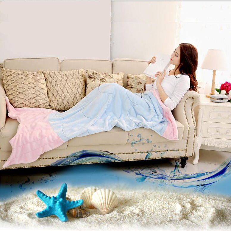 Quilt Mermaid blanket tail Snuggie fleece throw plush plaid On sofa Bed fluffy bedspreads covers bed