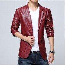 где купить PU Leather Blazer Jacket Men Black White Red Brown Solid Mens Suit Style Coats Slim Fit Youth Motorcycle Jacket Male 4XL 5XL 6XL по лучшей цене