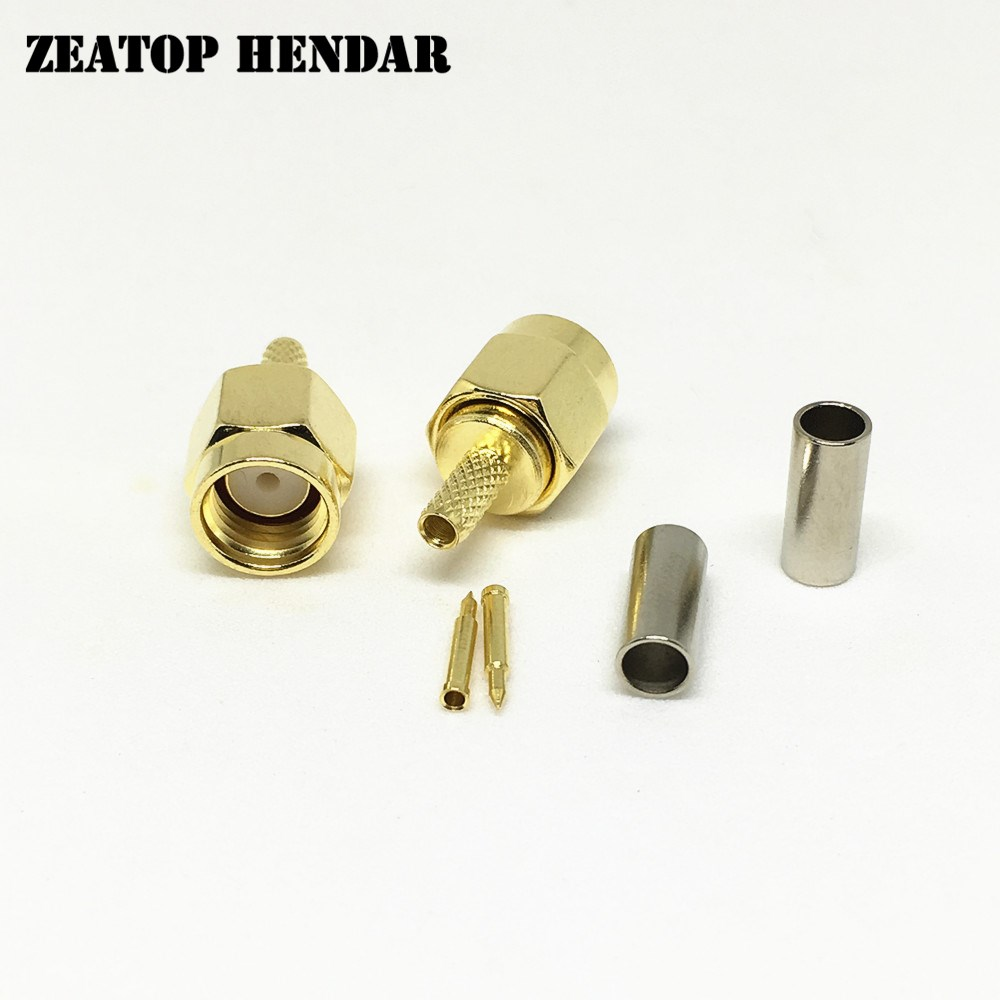 20PCS SMA Type Male Crimp Teflon Insulation Nickel Plated Gold Pin