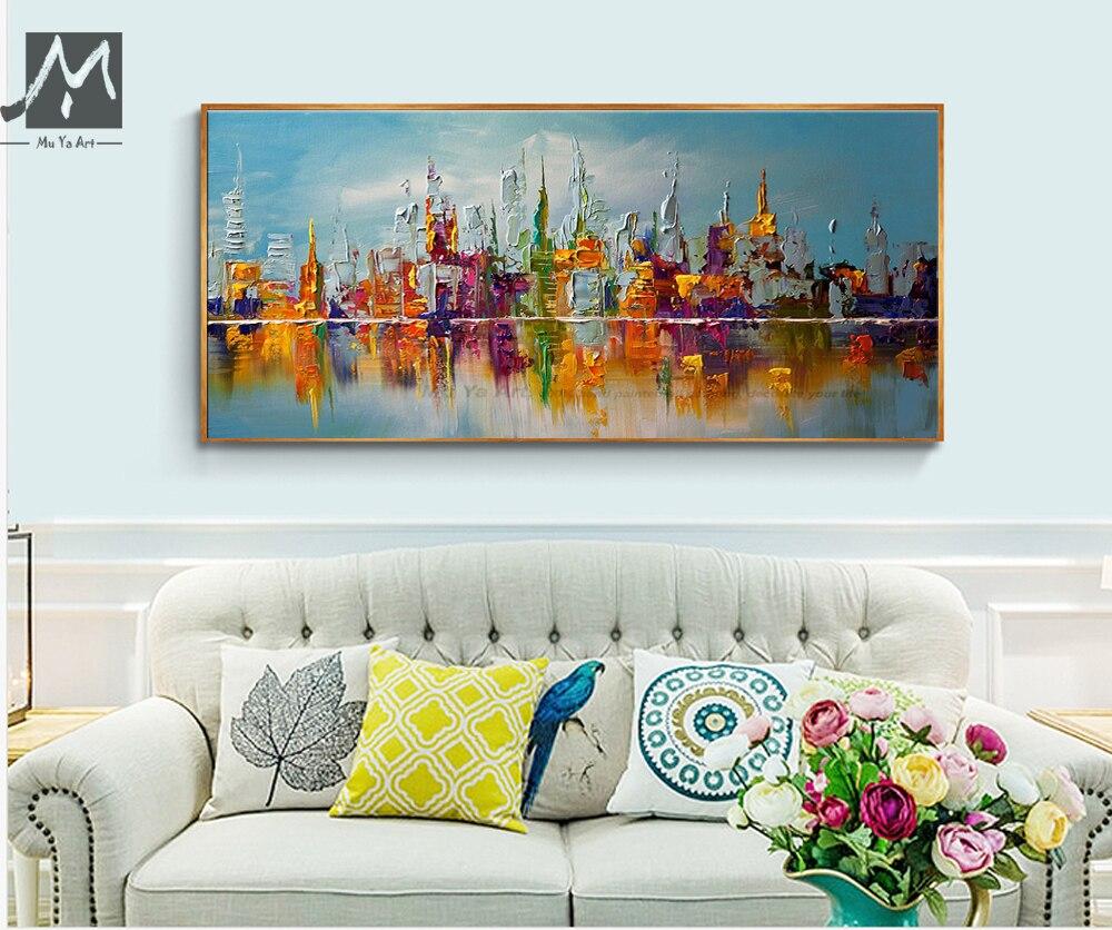 gran pared de la lona del arte abstracto cuadros decorativos modernos nueva york pintura al. Black Bedroom Furniture Sets. Home Design Ideas