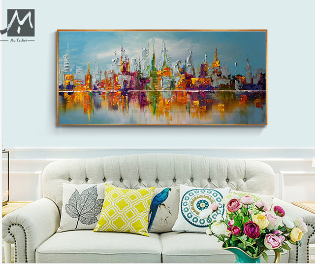 Large Framed Wall Art New York City Landscape Sunset: Large Canvas Wall Art Abstract Modern Decorative Pictures
