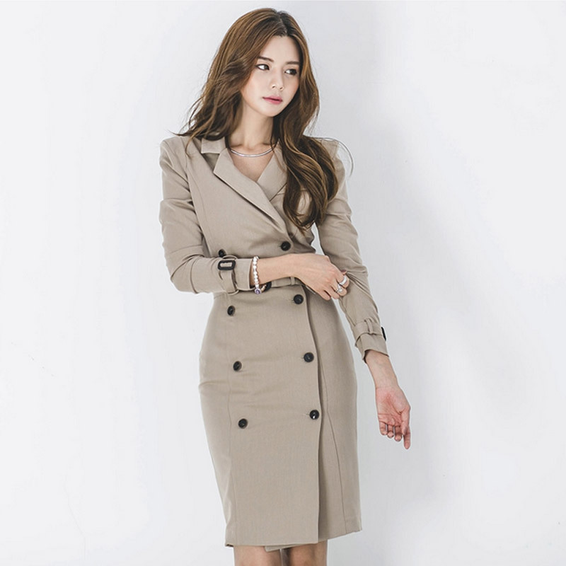 Women Coat Lace-Up Office Long-Sleeve Slim Double-Breasted Cotton Business With Belt