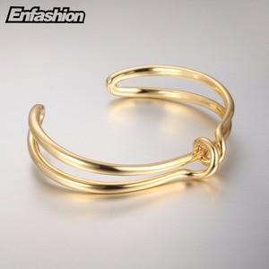 Image 5 - Enfashion Knot Cuff Bracelet Manchette Armband Gold color Loop Line Bangle Bracelet For Women Bracelets Bangles Pulseiras B8782