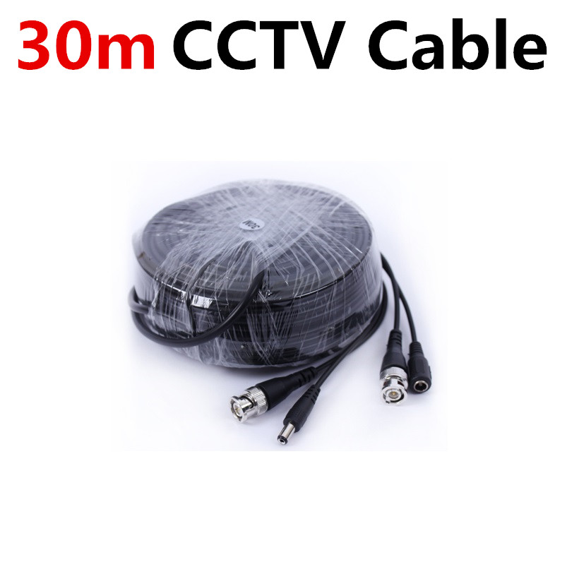 New Black Color 30m(100ft) Long BNC Power Video CCTV Cable for Security System CCTV Accessories DC+VIDEO 4pcs 12v 1a cctv system power dc switch power supply adapter for cctv system