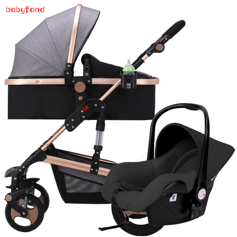 HK 3 in 1 baby folding strollers light carriage European Baby Strollers Export Brand With Car Seat все цены