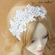 White Lace Flower Splicing Pearl Hairbands Hand Made Bridal Wedding Hair Accessories Woman Wide Lace Headbands