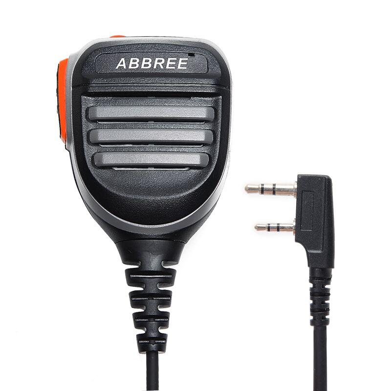 Abbree 2 Pin PTT À Distance Étanche Haut-Parleur Mic Microphone pour Radio Bidirectionnelle Kenwood TYT Baofeng UV-5R 888 s UV-82 talkie Walkie