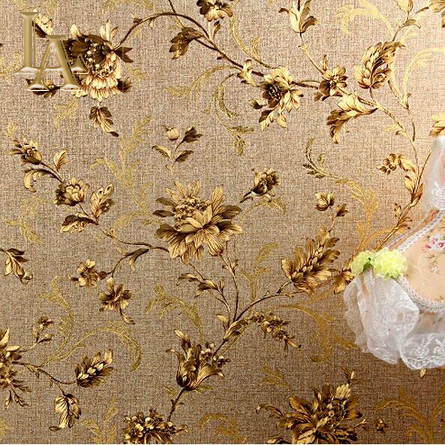 Waterproof vintage luxury floral wall paper vinyl embossed for Gold wallpaper for walls