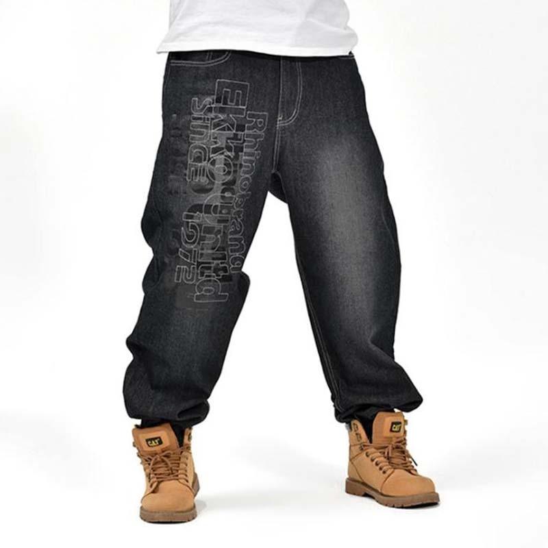 купить Men's Black Baggy Jeans Hip Hop Designer Brand Skateboard Pants loose Style Plus Size 30-46 True HipHop Rap Jeans Boys Trousers дешево