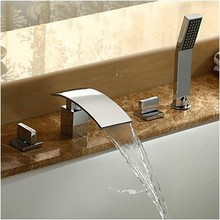 Современные Водопад Латунь ванной Ванна Кран Смесителя с ручной душ хромированная Отделка