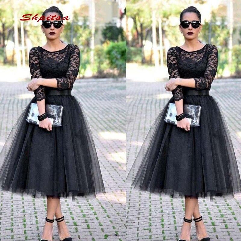 Black Long Sleeve Lace Cocktail Dresses Party Tea Length Graduation Women Prom Plus Size Coctail Mini Semi Formal Dresses