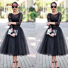 Black Long Sleeve Lace Cocktail Dresses Party Tea Length Gra