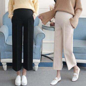 d69a0d953 Maternidad pantalones de pierna ancha para las mujeres el embarazo de invierno  cálido pantalones vaqueros ropa de maternidad para las mujeres embarazadas  ...