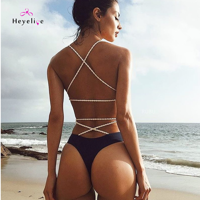 Sexy Bandage Thong Swimsuits Women Black One Piece Swim Suits High Cut Monokini Swim Bathing Suit Vintage Beach Bodysuit Trikini s xl sexy one piece swimsuit thong swimwear women deep v neck bodysuit high cut monokini blackss trikini plus size bathing suit