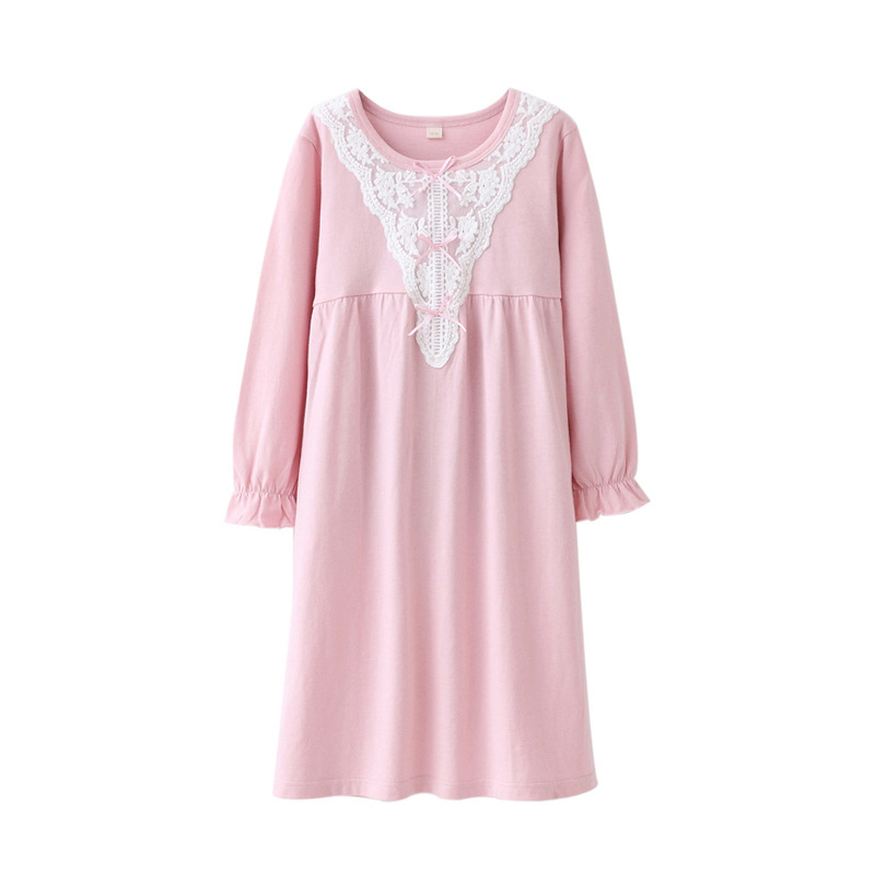 Family Matching Clothing Baby Girls Nightgowns Long Sweet Lace Cotton Nightdress Mother  ...