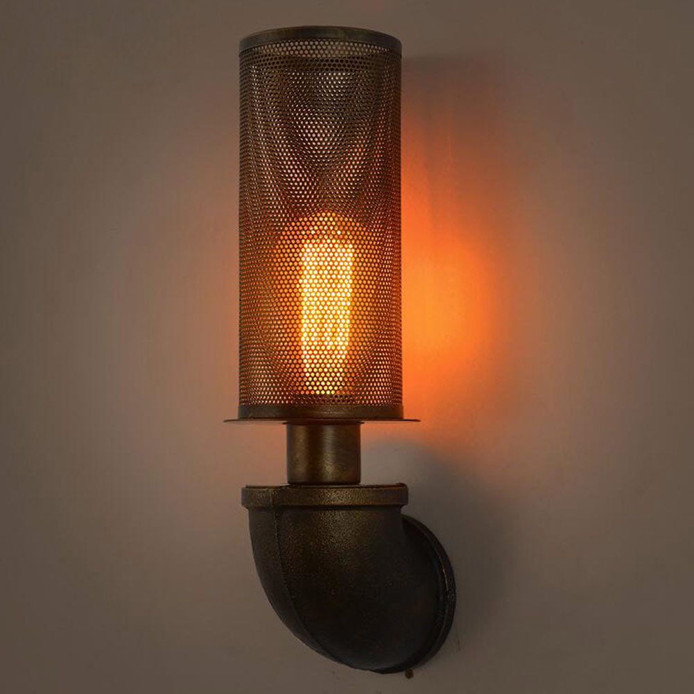 Iron Mesh Abajur Wall Lamps Retro Water Pipe Mesh Cover Wall Lights Vintage E27 Industrial Rustic Wall Wall Sconce Home Light water pipe wall lamps vintage american country mesh cover industrial retro wustic wall warehouse sconce for home lighting light