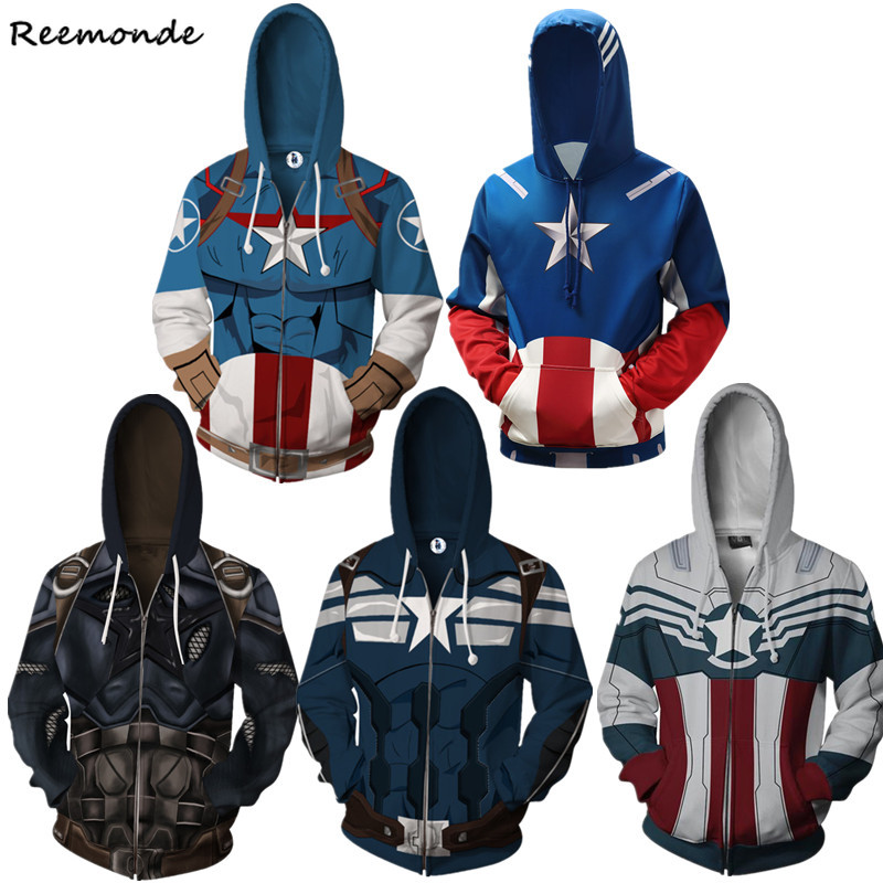 Movie Captain America Hoodies Sweatshirts Cosplay Costumes Superhero Coat Jacket Sweater Zipper For Adult Men Boys