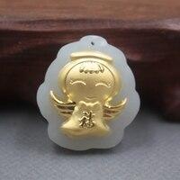 New Belas 24 K Amarelo Ouro & Hetian Pingente de Jade Mulheres Homens Bênção Guangong Pingente/28x25mm -