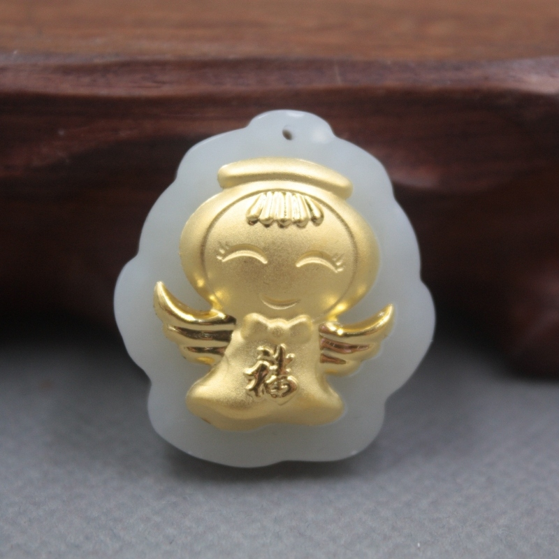 New Fine 24K Yellow Gold & Hetian Jade Pendant Women Men Blessing Guangong Pendant / 28x25mm
