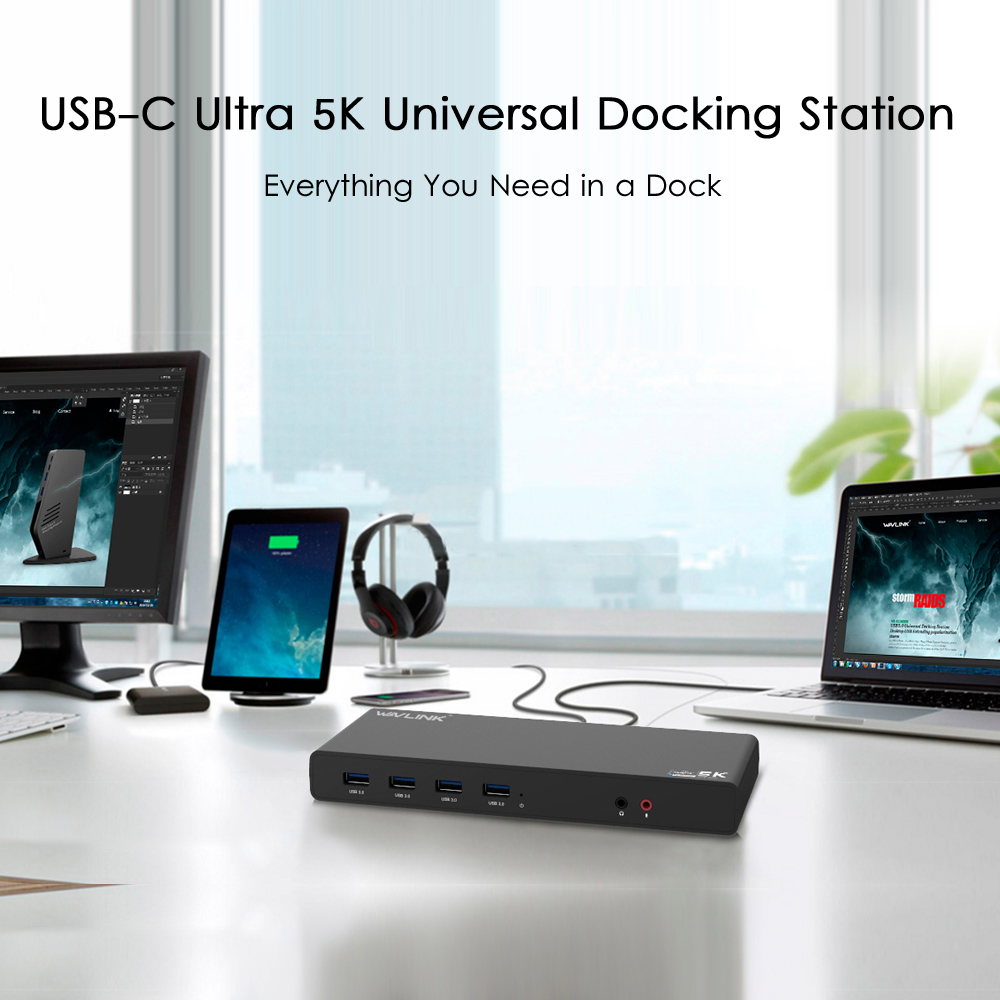 WAVLINK UNIVERSAL ULTRA 5K DOCKING STATION USB-C DUAL DISPLAY USB3.0 VIDEO AUDIO OUTPUT SUPPORT HDMI/DISPLAYPORT GIGABIT FOR MAC