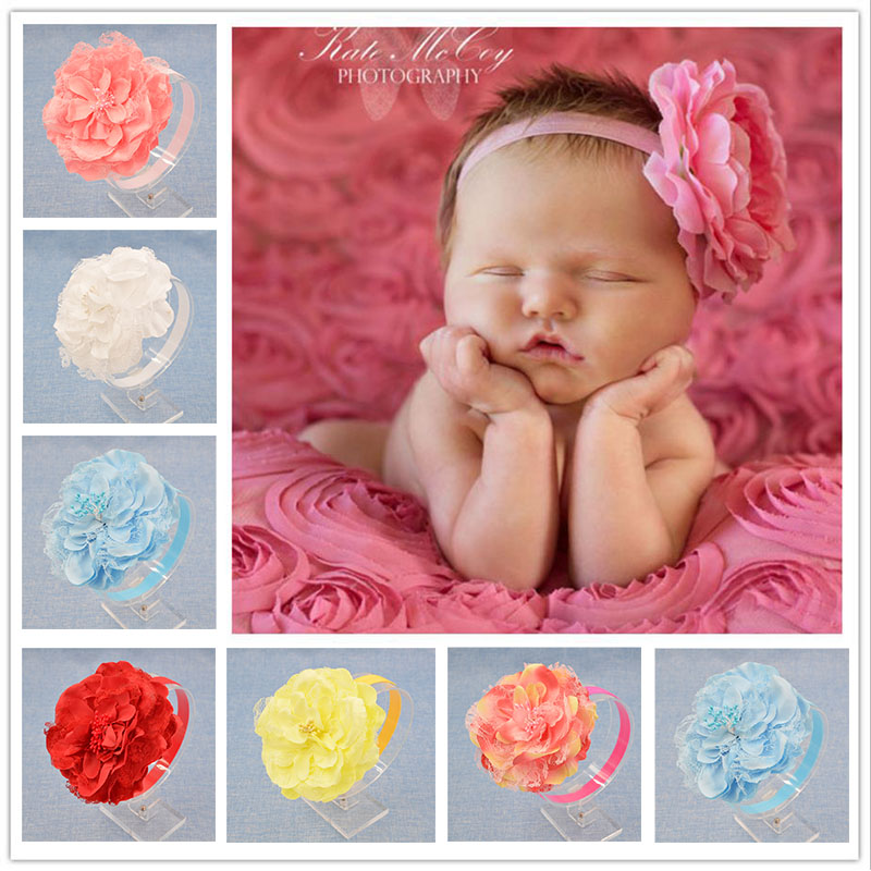 NEW Baby Girls Floral Headband big peony Flower Hairband Infant Hair Weave Band kids Accessories Christmas Gifts wholesale Stock 10pcs lot 2016 new baby girls elastic headband flower head band newborn infant flowers hair band kids baby hair accessories