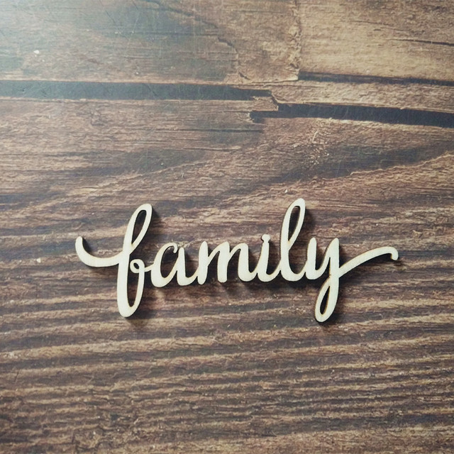 10pcs Family Script Word Wood Sign Art Gallery Wall Laser Cut Family ...