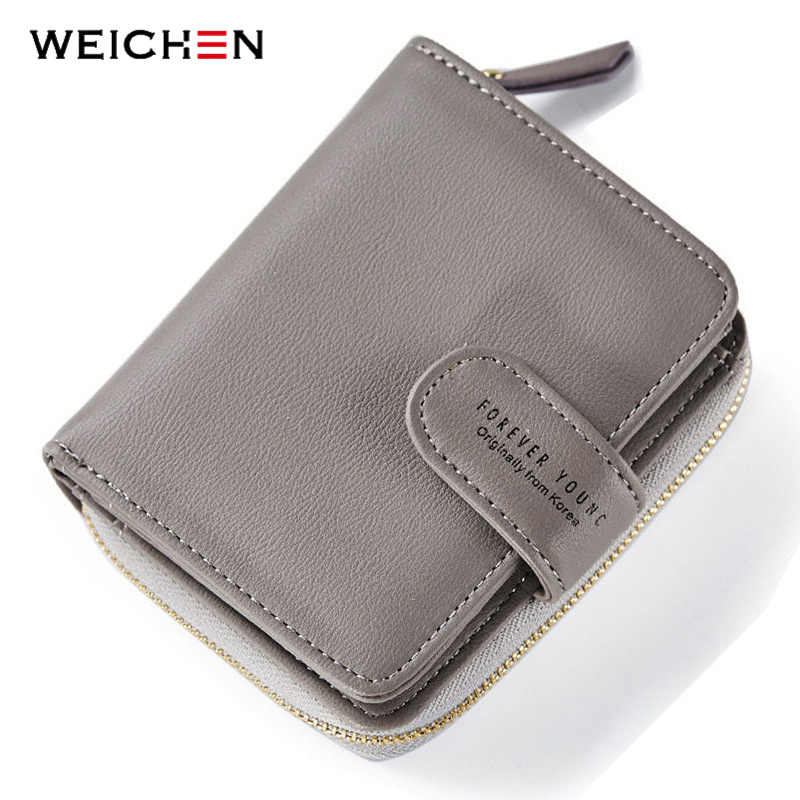 WEICHEN Mange avdelinger Kvinner Wallets Leather Glidelås Mynt Pocket og Card Holder Ladies Short Change Pung Mote Female Wallet