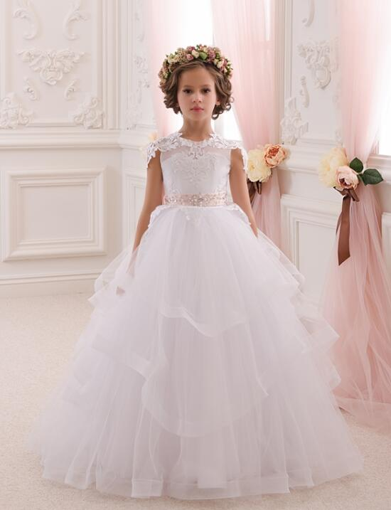 2018 Vintage Ball Gown Flower Girl Dresses For Weddings Appliques Long Pageant Dresses For Kids Girls Communion Dresses M2637