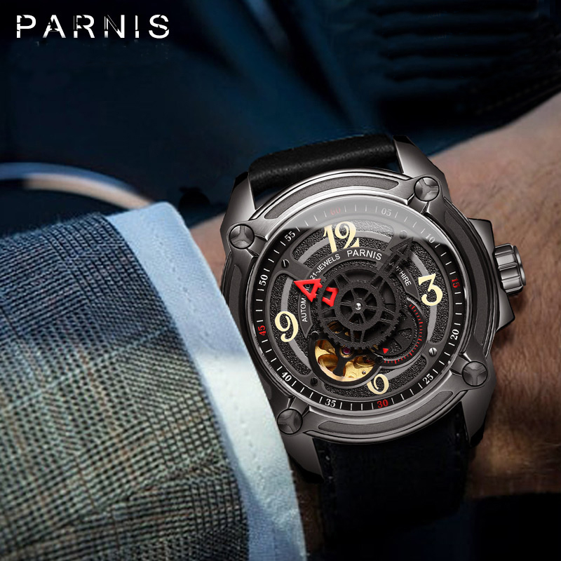 2016 New Fashion Watch Men 44mm Parnis Automatic Sapphire Crystal Luminous Number Men's Mechanical Watches цена и фото