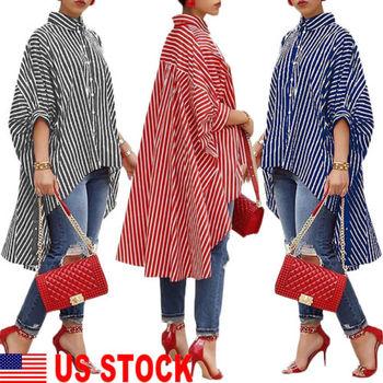 Fashion Women Loose Long Sleeve Striped Shirts Casual Blouse Shirt Lantern Sleeve Shirts