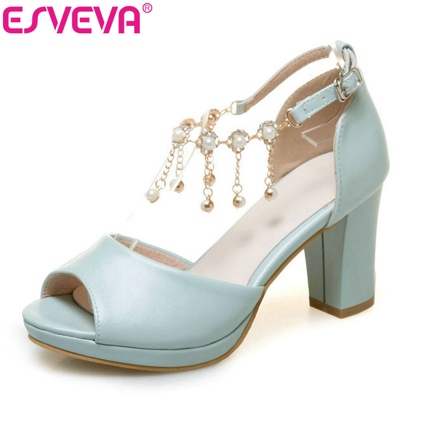 ESVEVA 2017 String Bead Ankle Strap Summer Shoes Square High Heel Women Pumps Peep Toe Blue White Wedding Shoes Big Size 34-43 цены онлайн