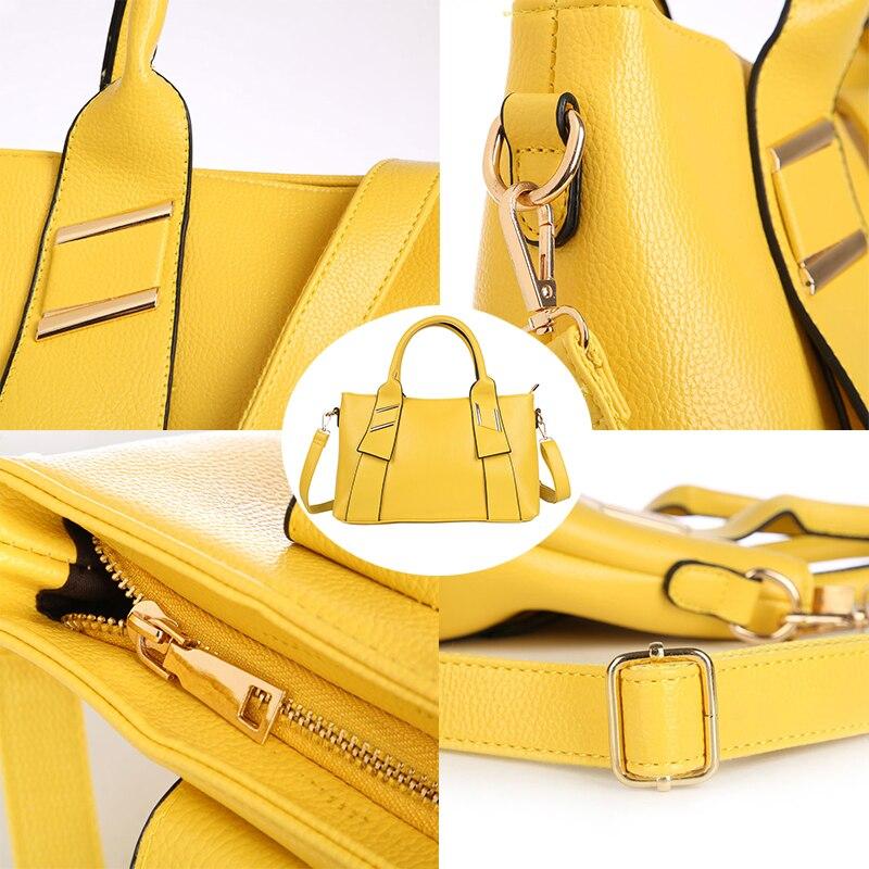 Image 4 - Yellow Handbag Women Bag PU Leather Blue Hand Bag Black Famous  Brand women messenger bag Luxury Designer bolsa feminina  W805handbag  polohandbag jewelleryhandbags bling