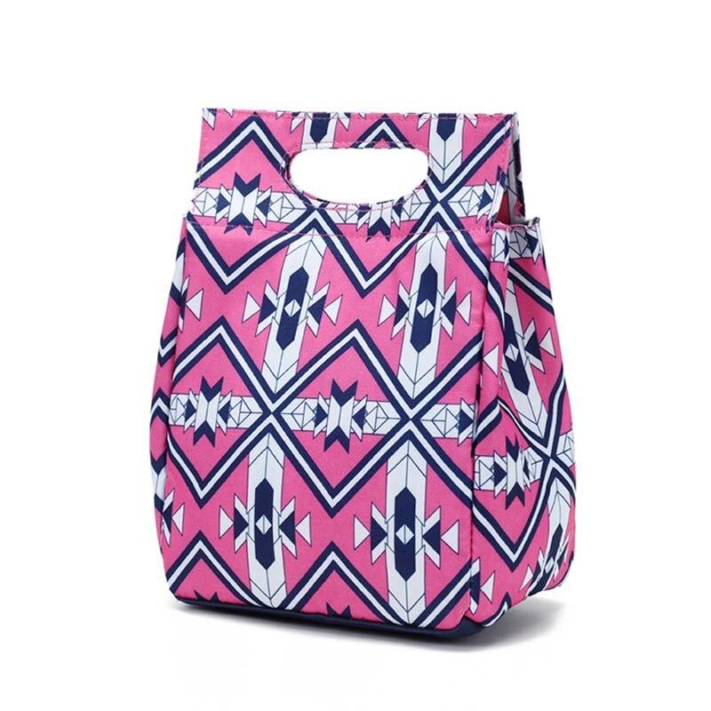 2019 Neuestes Design Stilvolle Druck Nylon Mittagessen Tasche Tragbaren Kleine Kühltasche Eis Pack Thermische Picknick Mahlzeit Getränke Obst Isoliert Kühlen Tote Tasche