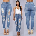 New Women's Demin Jeans Hole Skinny Pencil Jeans Fitness Ripped Trousers Elastic Bandage Long Pants pantalones mujer W111