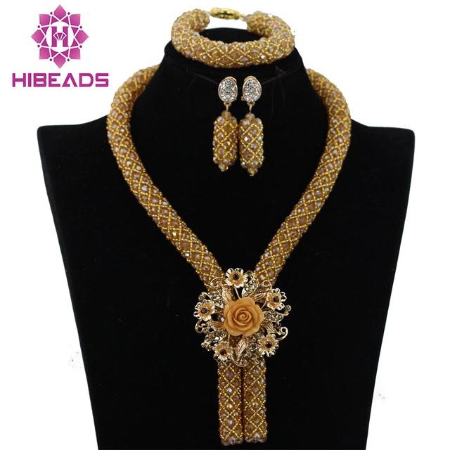 Atacado Champagne Ouro Nigeriano Beads Casamento Africanos Set Jóias Colar Do Traje Africano Set para Mulheres Frete Grátis WA727