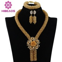 Wholesale Champagne Gold Nigerian African Wedding Beads Jewelry Set African Costume Necklace Set for Women Free Shipping WA727