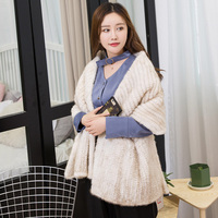 Natural Fur Shawl Mink Scarf 2017 New Mink Wool Mink Fur Shawl Woven Women In Autumn And Winter Warm Coat Scarf Shawl
