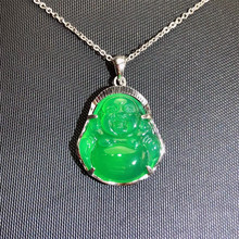 gemstone jewellery manufacturer wholesale trendy 925 silver natural green chalcedony buddha charm necklace pendant for women