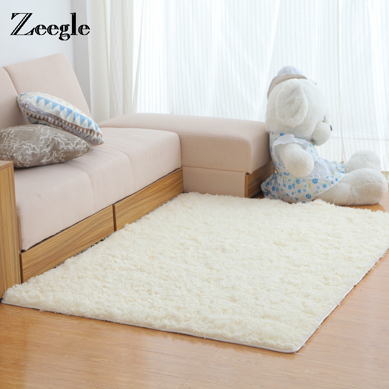 Zeegle Living Room Soft Shaggy Carpet Floor Rugs Fluffy Mats Kids Room Faux Fur Area Rug Bedroom Large Size Mats Bedside Rug