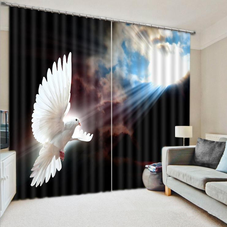Thick High Quality Window Curtains Photo Printing 3D Curtains Living Beddroom Cortians Peace Dove and Sky