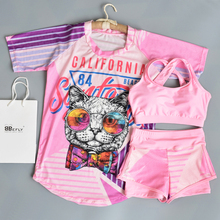 2019  New Girls Swimsuit Two Pieces Beachwear Children Swimwear Kids Fashion Cat Bathing Suit Big Swimsuits 7-15 Years
