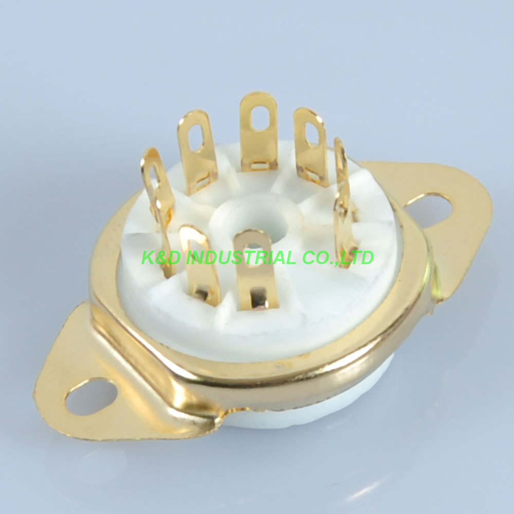 5pcs GOLD 9pin Ceramic vacuum tube socket gold valve base for 12AX7 12AU7 ECC8 in Smart Power Socket Plug from Consumer Electronics