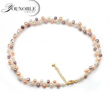 2018 trendy double colorful choker necklace,anniversary gift beautiful multilayer freshwater pearl necklace