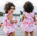 Bebê menina doce doce rosa define 2016 verão xadrez moda Instragm menina roupas Ruffles & bowknot Tops + calças conjuntos