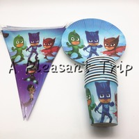 30pcs Mask Man Theme 10 Plates 10cups 10 Flag Happy Birthday Party Supplies 10person Party Decoration