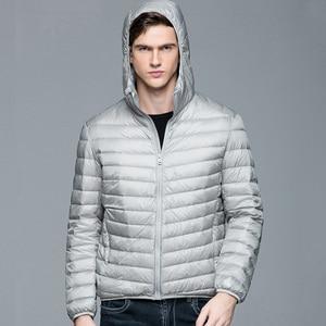 Image 5 - Men Winter Coat Fashion Hooded 90% White Duck Down Jackets Plus Size Ultralight Down Coat Portable Slim Down Parkas 4XL 5XL 6XL