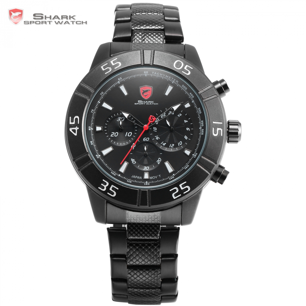 Sandbar Shark Sport Watch 3 Dial Chronograph 24 Hours Display Full Black Black Stainless Steel Band Quartz Men Wristwatch /SH300 шейкер sport elite sh 300 850ml black
