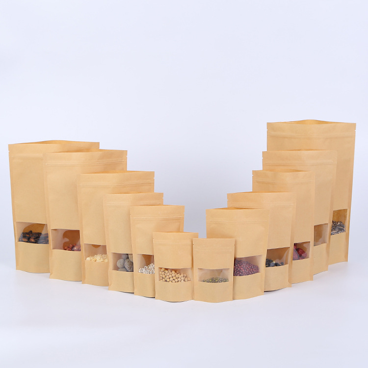 100pcs Stand Up Kraft Paper Bag With Transparent Window Zip Lock Kraft Paper Pouch Zip Lock Sealable Pouch Food Candy Storage